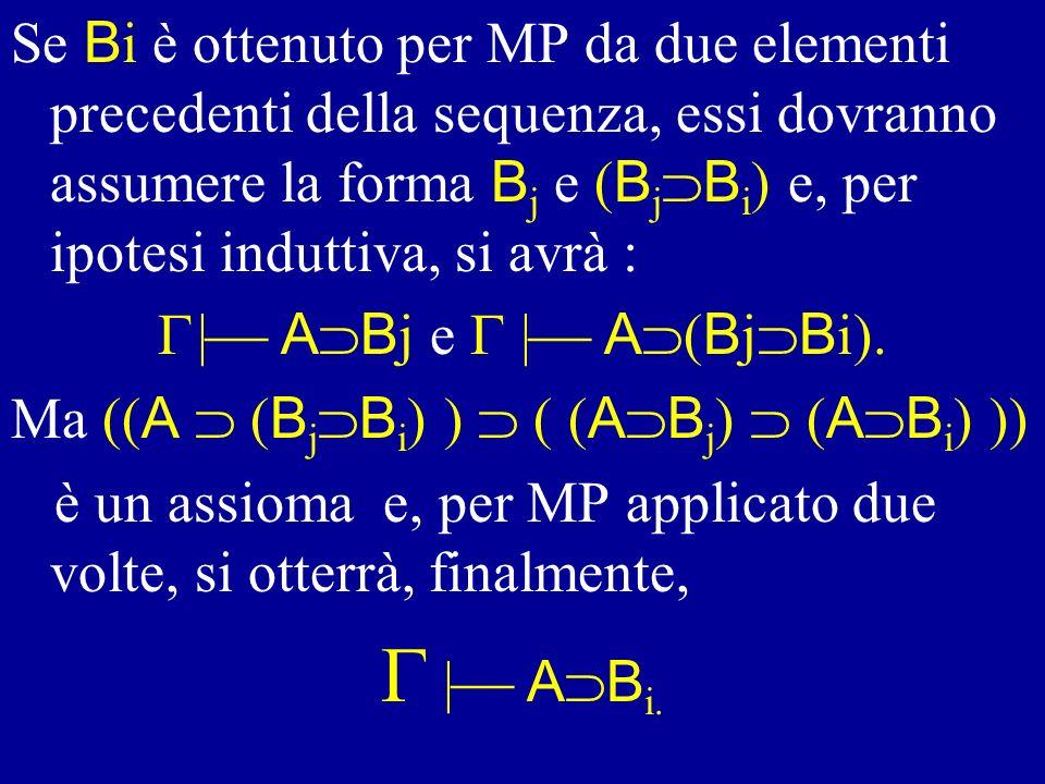 Se Bi è ottenuto per MP da due elementi precedenti della sequenza, essi dovranno assumere la forma Bj e (BjBi) e, per ipotesi induttiva, si avrà :