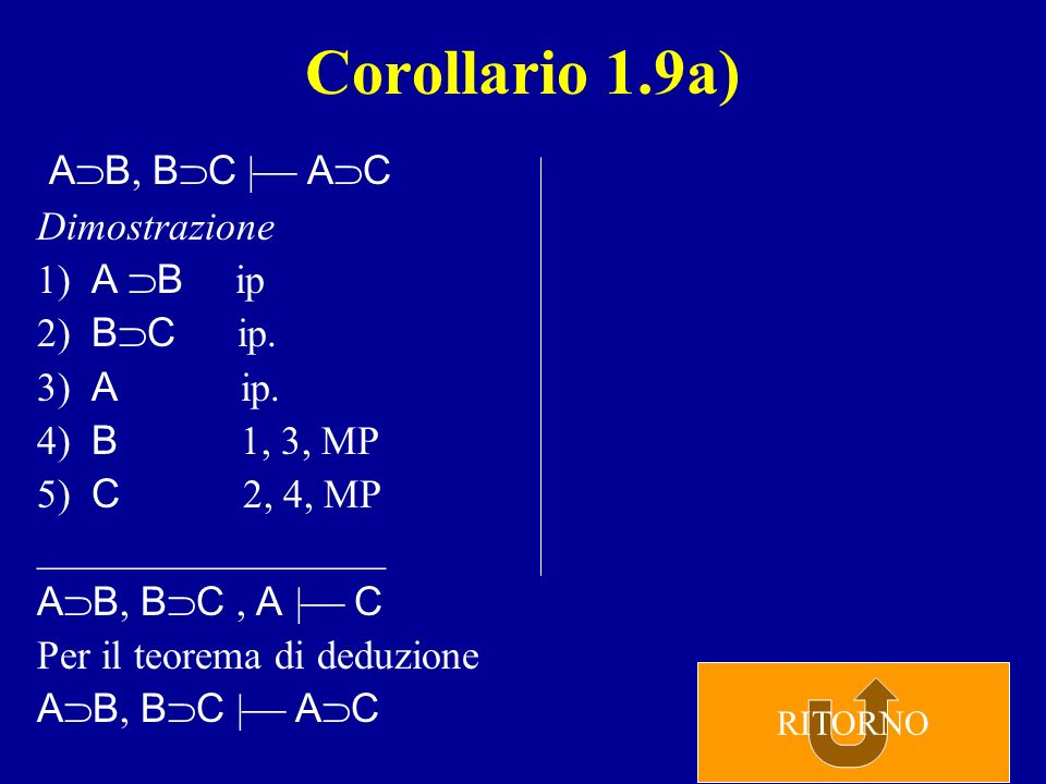 Corollario 1.9a) AB, BC | AC Dimostrazione 1) A B ip 2) BC ip.