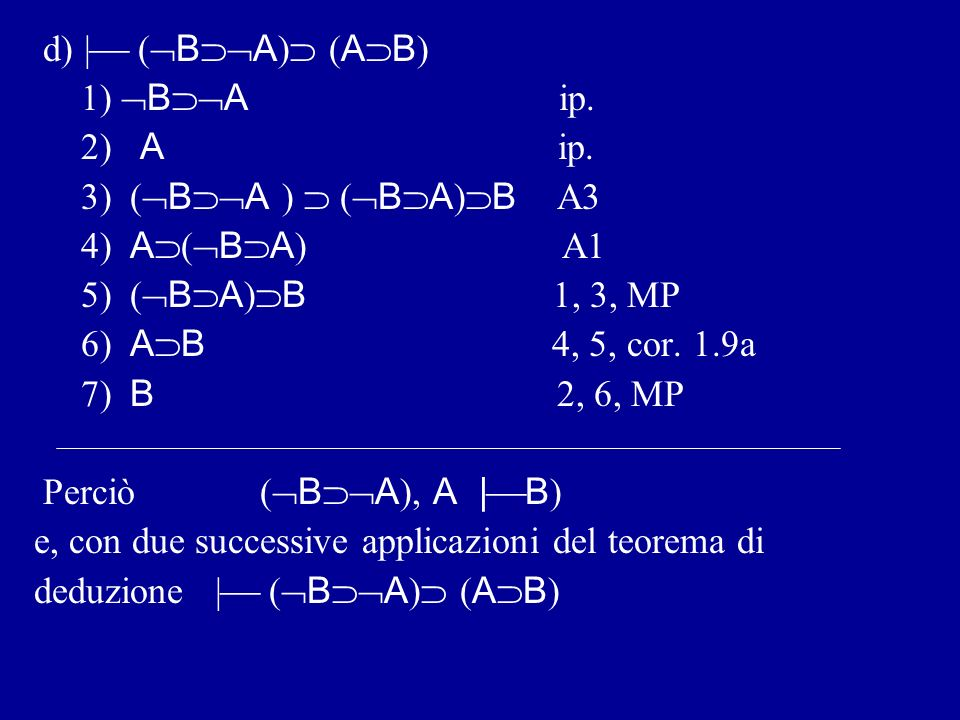 d) | (BA) (AB) 1) BA ip. 2) A ip.