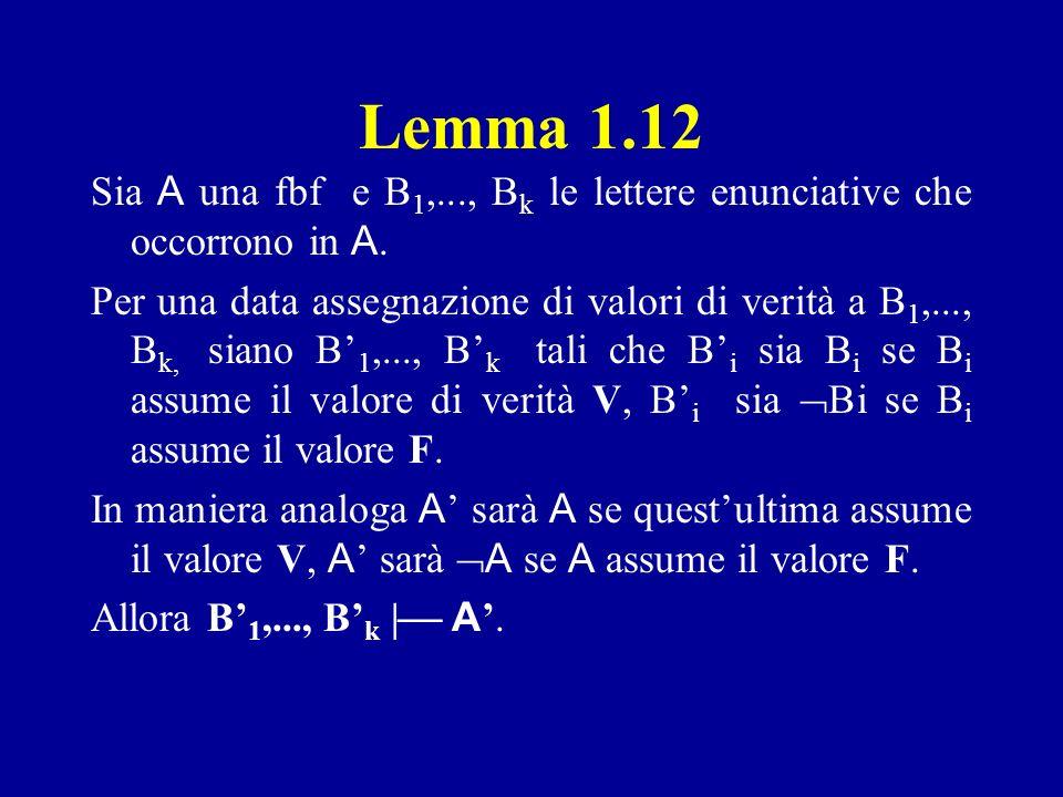 Lemma 1.12 Sia A una fbf e B1,..., Bk le lettere enunciative che occorrono in A.