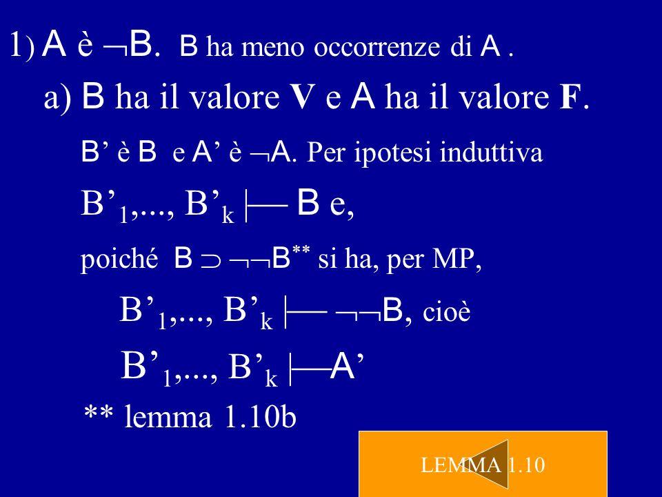 1) A è B. B ha meno occorrenze di A .