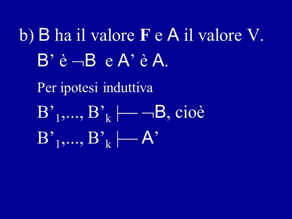 b) B ha il valore F e A il valore V.