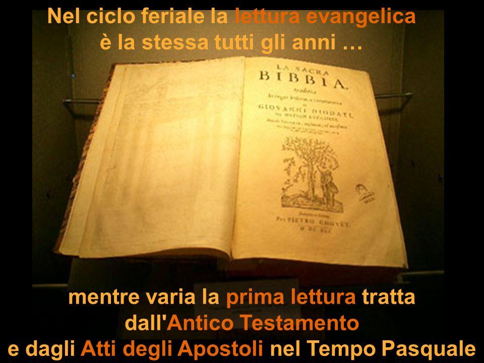 Nel ciclo feriale la lettura evangelica è la stessa tutti gli anni …
