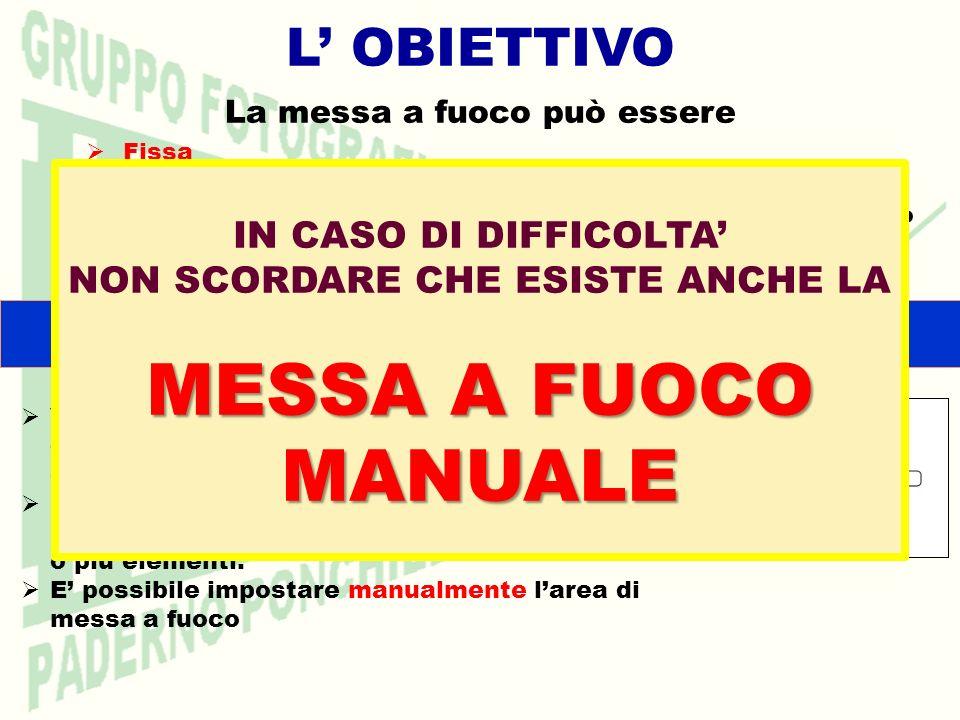 MESSA A FUOCO MANUALE L' OBIETTIVO IN CASO DI DIFFICOLTA'
