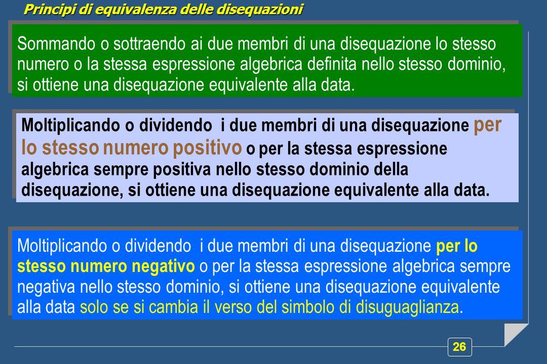 Principi di equivalenza delle disequazioni