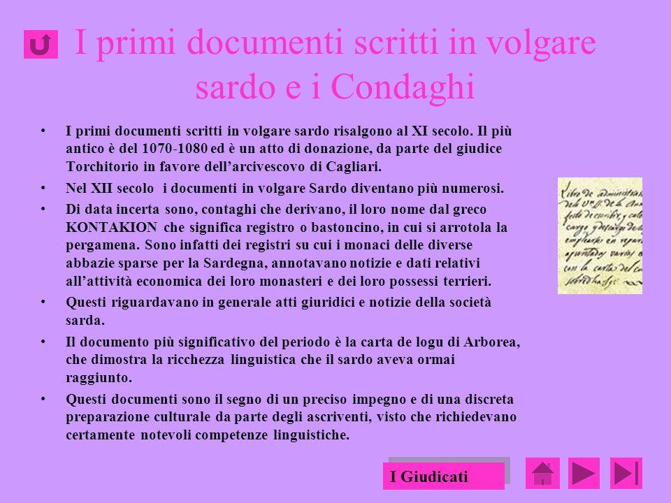 I primi documenti scritti in volgare sardo e i Condaghi