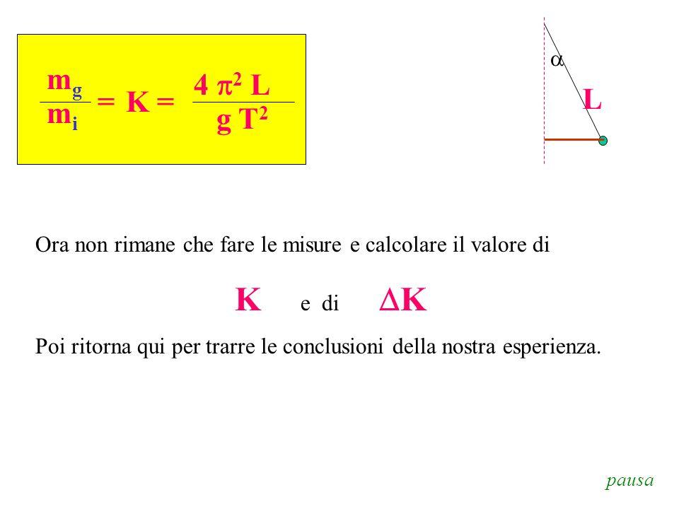 aL. mg. mi. = 4 p2 L. g T2. K = Ora non rimane che fare le misure e calcolare il valore di. K e di DK.