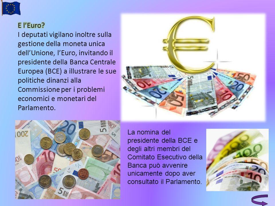 E l'Euro I deputati vigilano inoltre sulla gestione della moneta unica dell'Unione, l'Euro, invitando il presidente della Banca Centrale Europea (BCE) a illustrare le sue politiche dinanzi alla Commissione per i problemi economici e monetari del Parlamento.