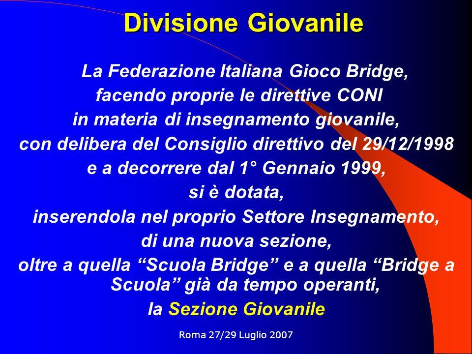 Divisione Giovanile La Federazione Italiana Gioco Bridge,