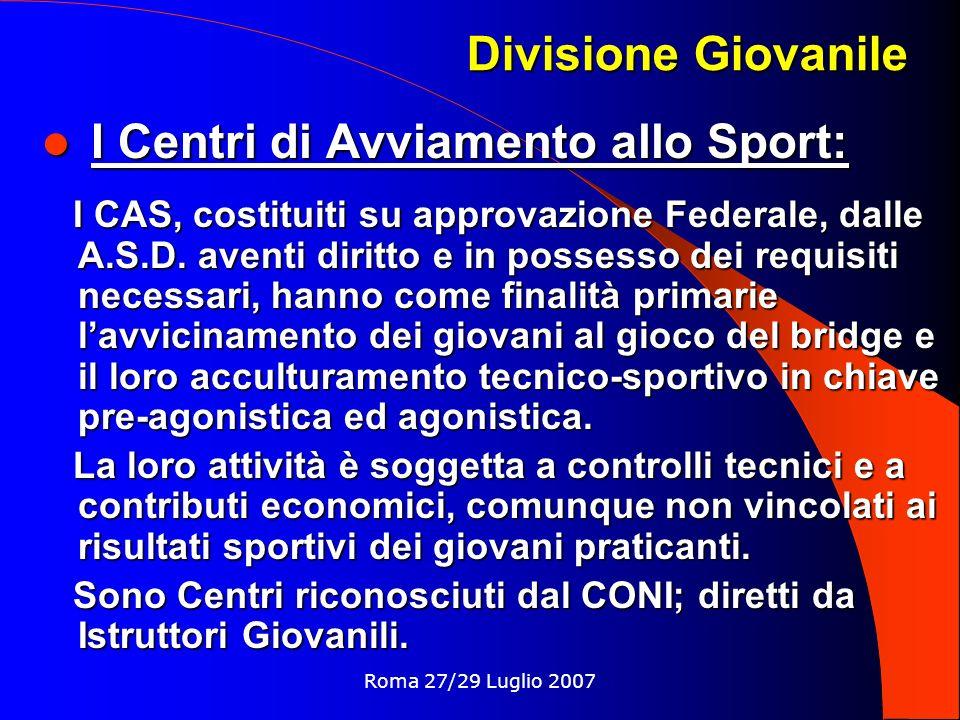 I Centri di Avviamento allo Sport: