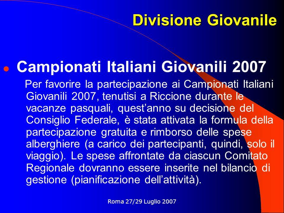 Divisione Giovanile Campionati Italiani Giovanili 2007