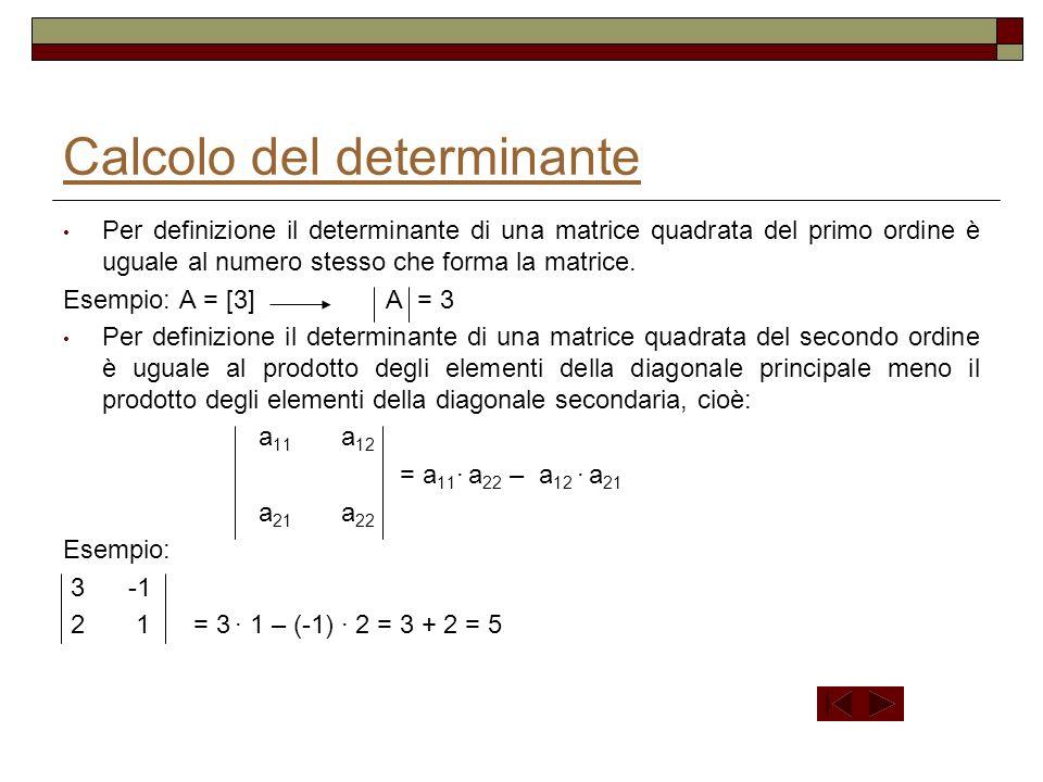 Calcolo del determinante