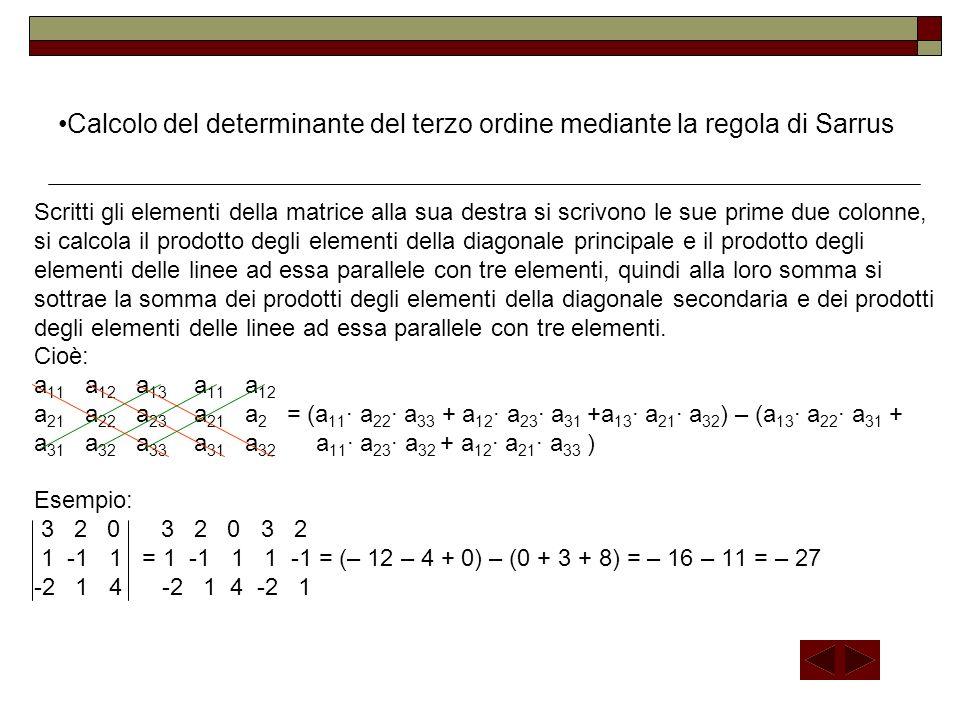 Calcolo del determinante del terzo ordine mediante la regola di Sarrus
