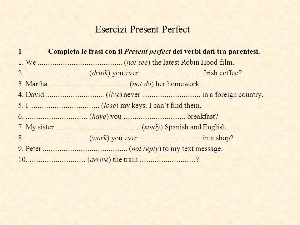 Esercizi Present Perfect