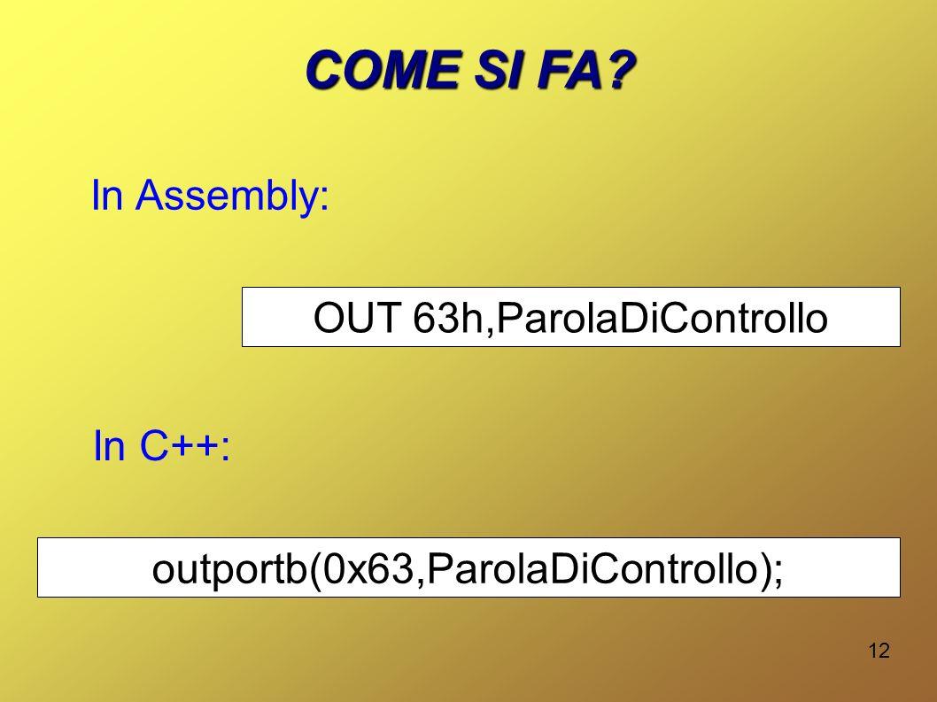 COME SI FA In Assembly: OUT 63h,ParolaDiControllo In C++: