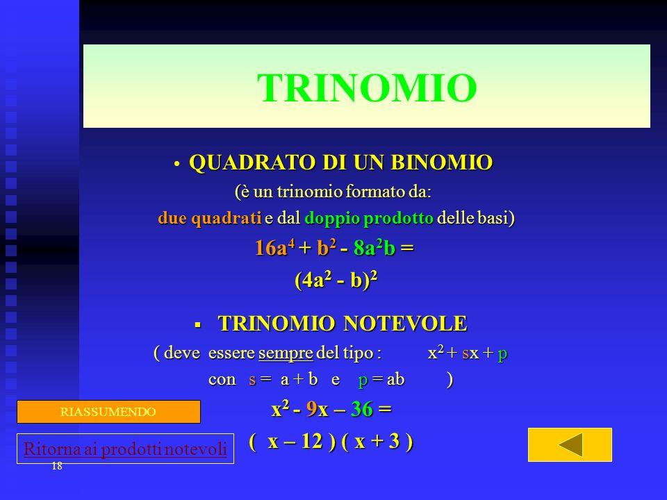 TRINOMIO 16a4 + b2 - 8a2b = (4a2 - b)2 TRINOMIO NOTEVOLE