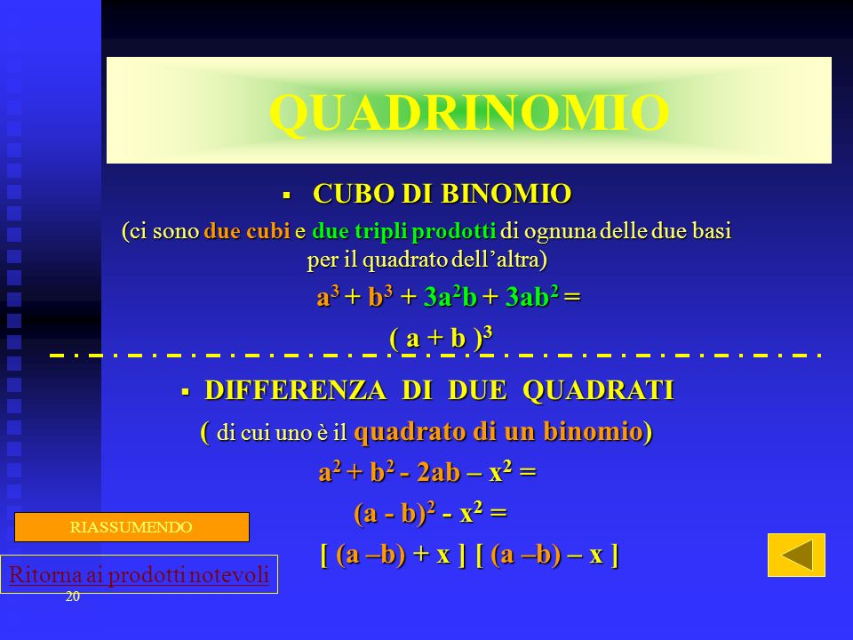 DIFFERENZA DI DUE QUADRATI