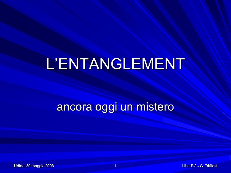 L'ENTANGLEMENT ancora oggi un mistero Udine, 30 maggio 2008 1