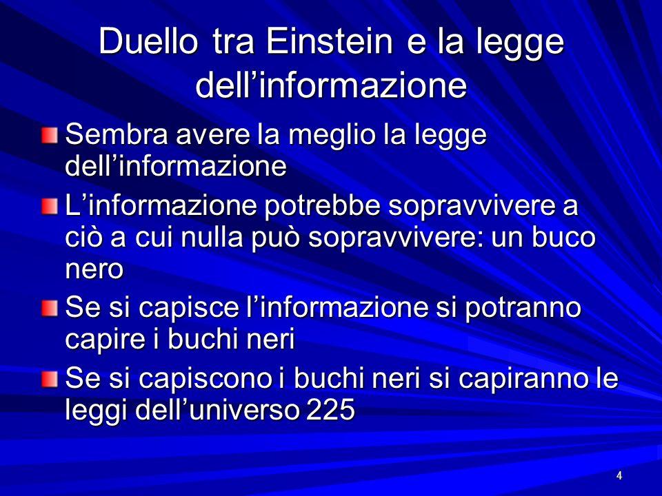Duello tra Einstein e la legge dell'informazione