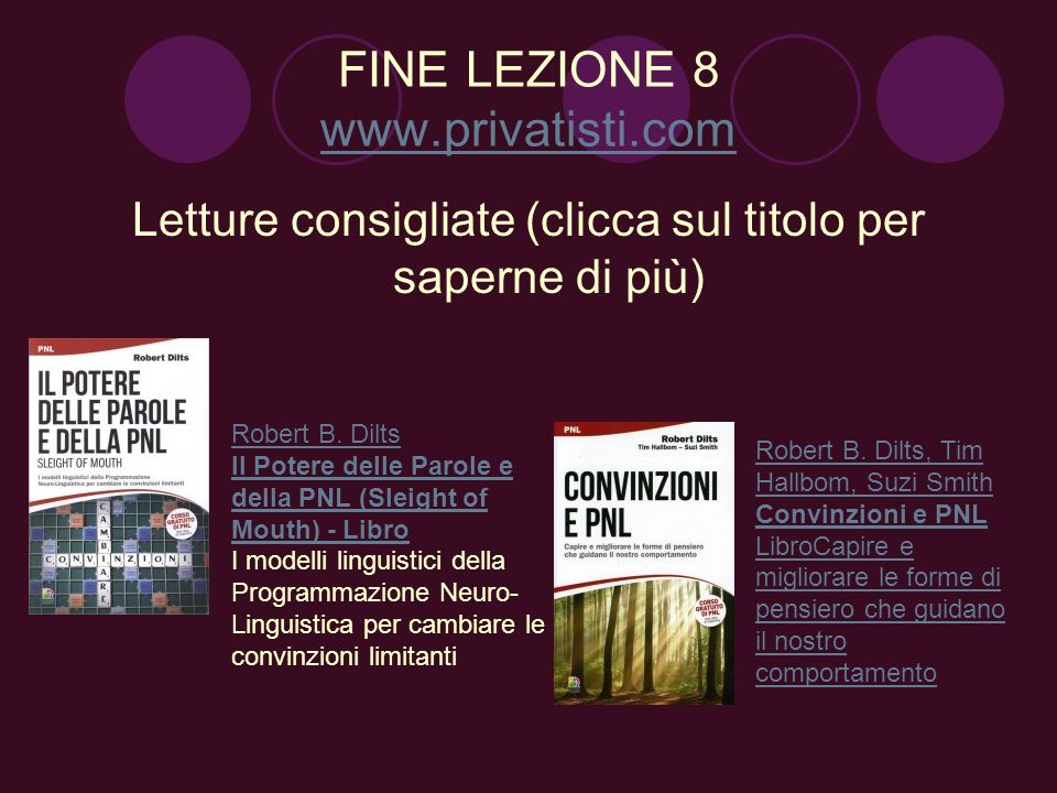 FINE LEZIONE 8 www.privatisti.com