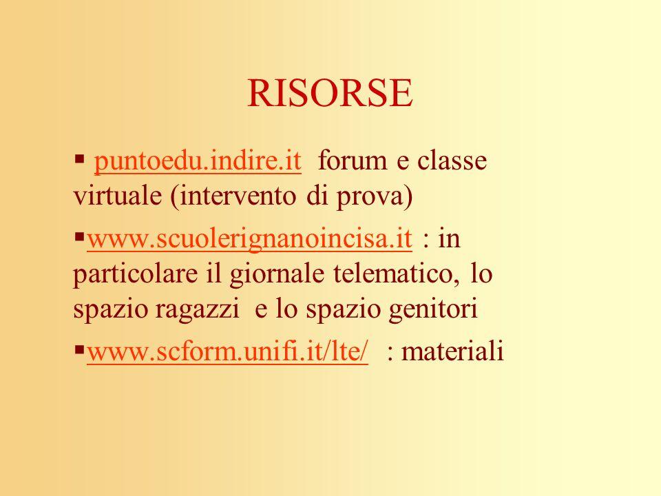 RISORSE puntoedu.indire.it forum e classe virtuale (intervento di prova)