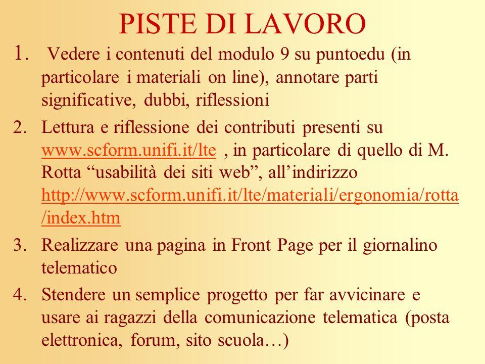 PISTE DI LAVORO Vedere i contenuti del modulo 9 su puntoedu (in particolare i materiali on line), annotare parti significative, dubbi, riflessioni.