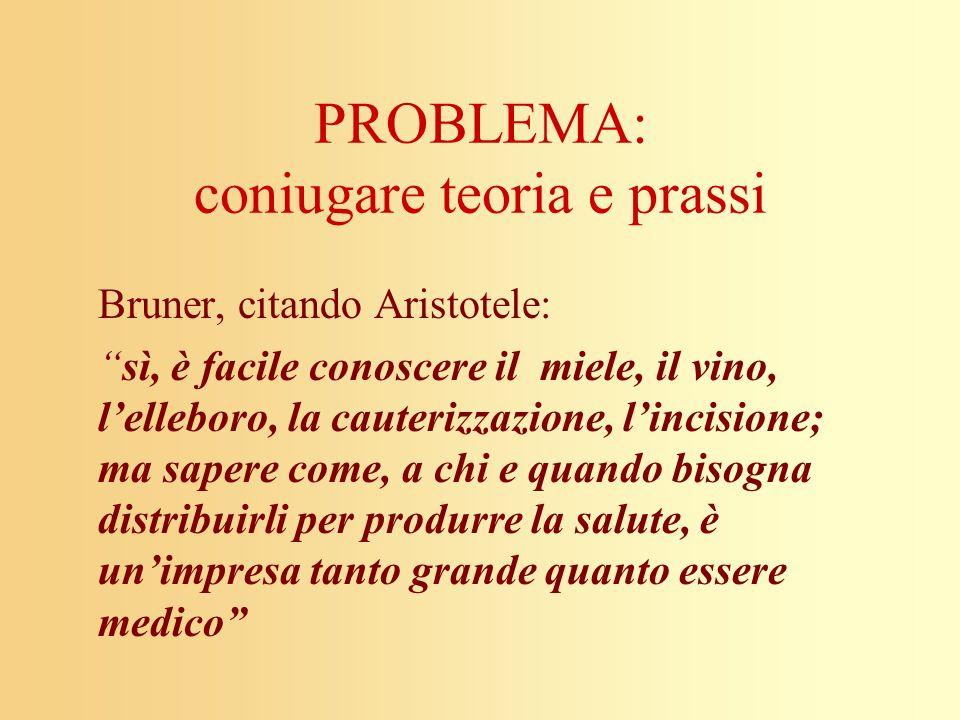 PROBLEMA: coniugare teoria e prassi