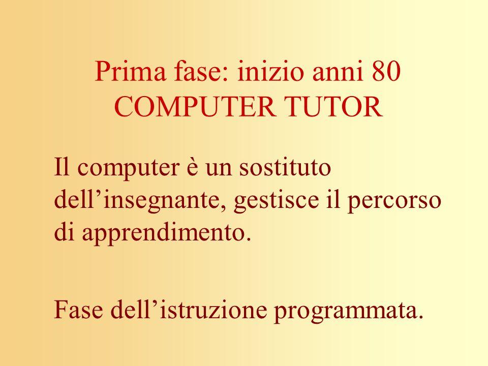 Prima fase: inizio anni 80 COMPUTER TUTOR
