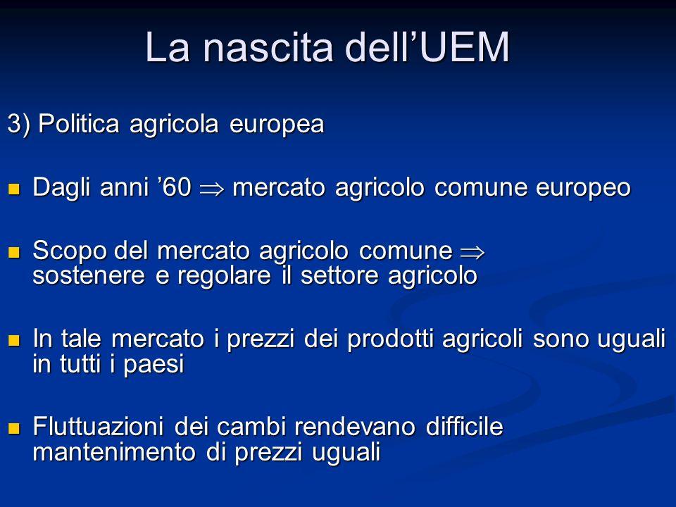 La nascita dell'UEM 3) Politica agricola europea