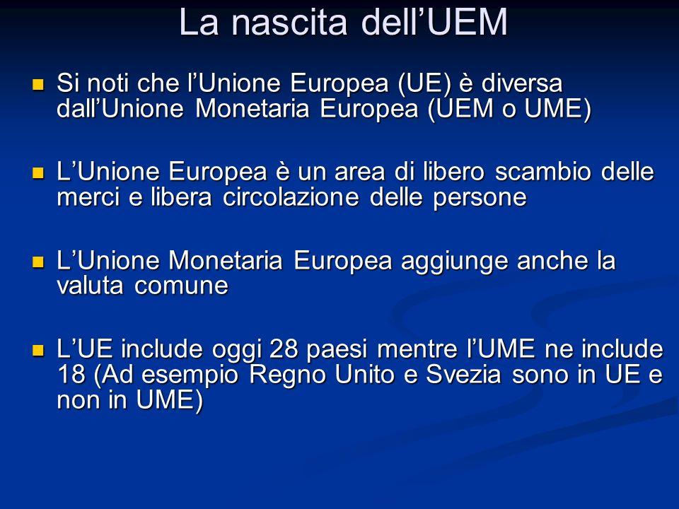 La nascita dell'UEM Si noti che l'Unione Europea (UE) è diversa dall'Unione Monetaria Europea (UEM o UME)