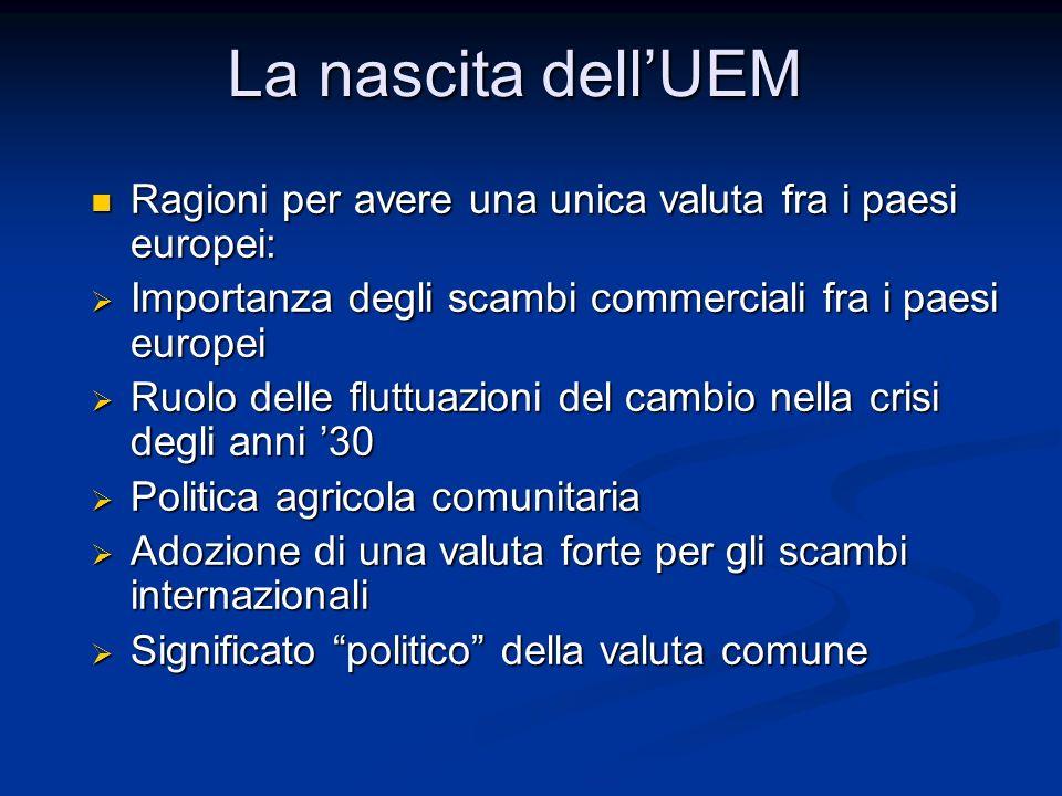 La nascita dell'UEM Ragioni per avere una unica valuta fra i paesi europei: Importanza degli scambi commerciali fra i paesi europei.