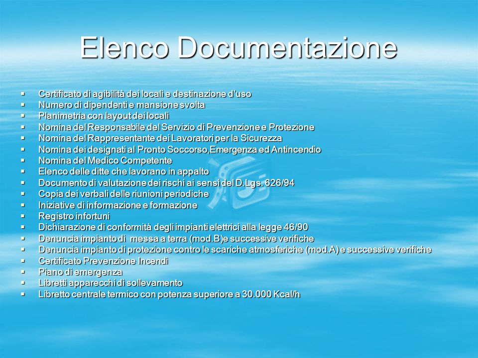 Elenco Documentazione