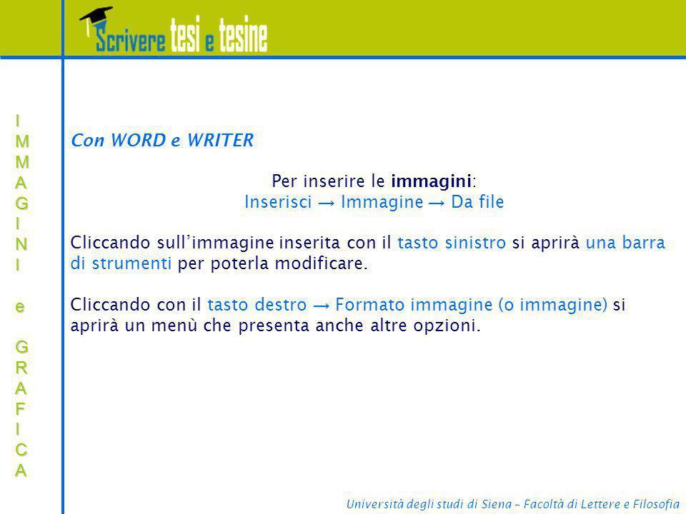 Per inserire le immagini: Inserisci → Immagine → Da file