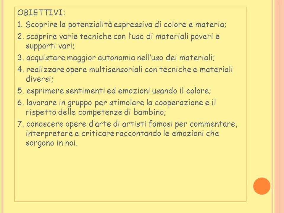 OBIETTIVI: 1.Scoprire la potenzialità espressiva di colore e materia; 2.