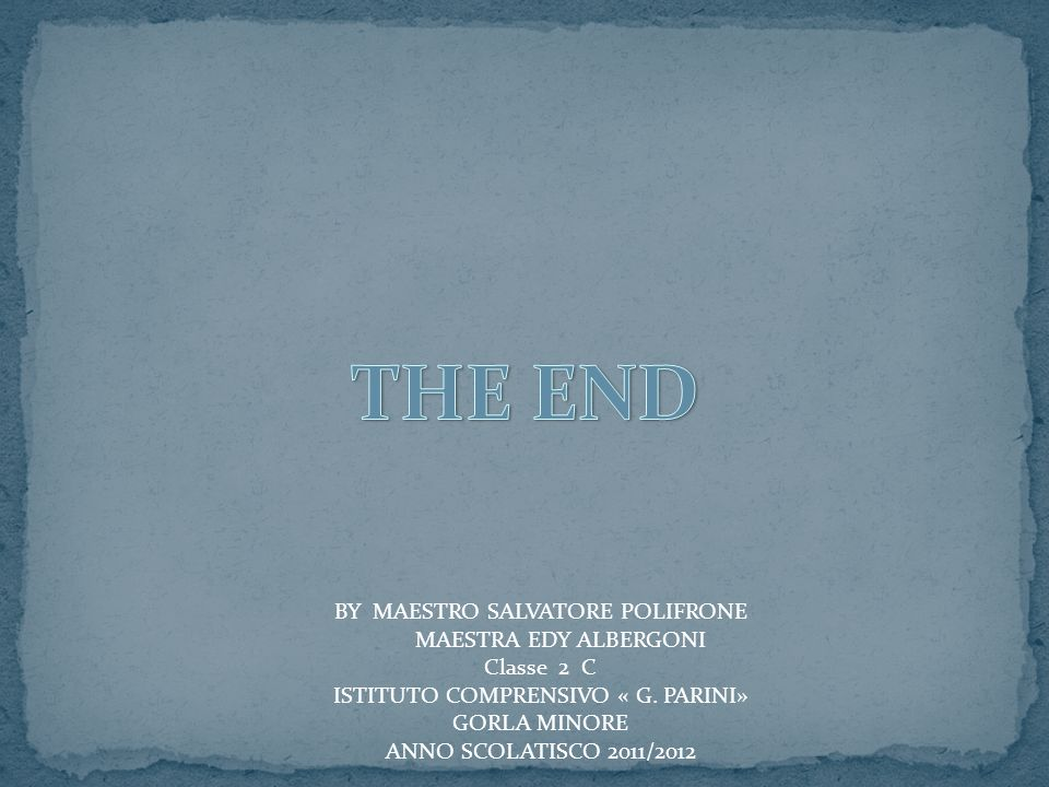THE END BY MAESTRO SALVATORE POLIFRONE MAESTRA EDY ALBERGONI