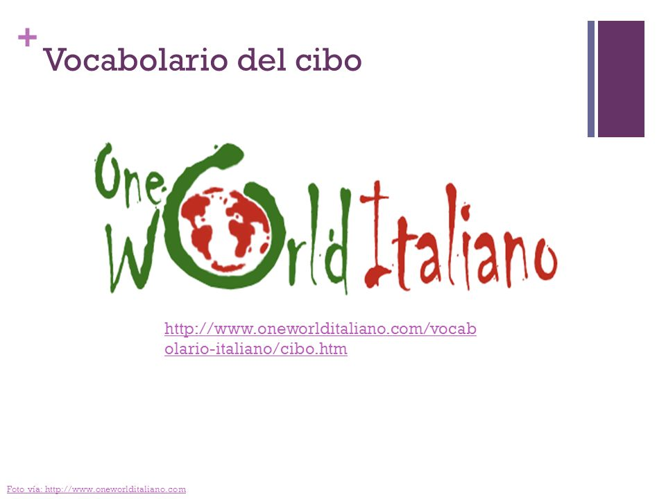 Vocabolario del cibo http://www.oneworlditaliano.com/vocabolario-italiano/cibo.htm.