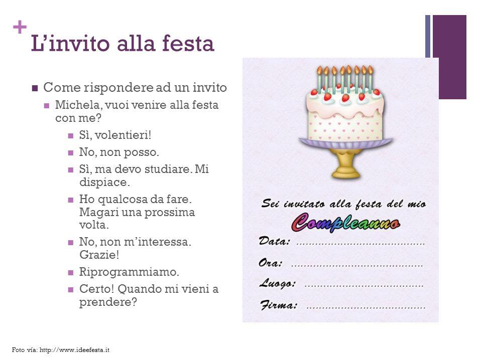 L'invito alla festa Come rispondere ad un invito