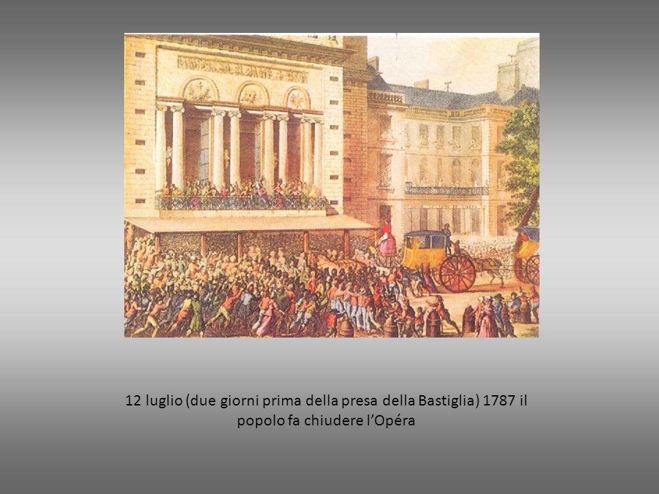 12 luglio (due giorni prima della presa della Bastiglia) 1787 il popolo fa chiudere l'Opéra