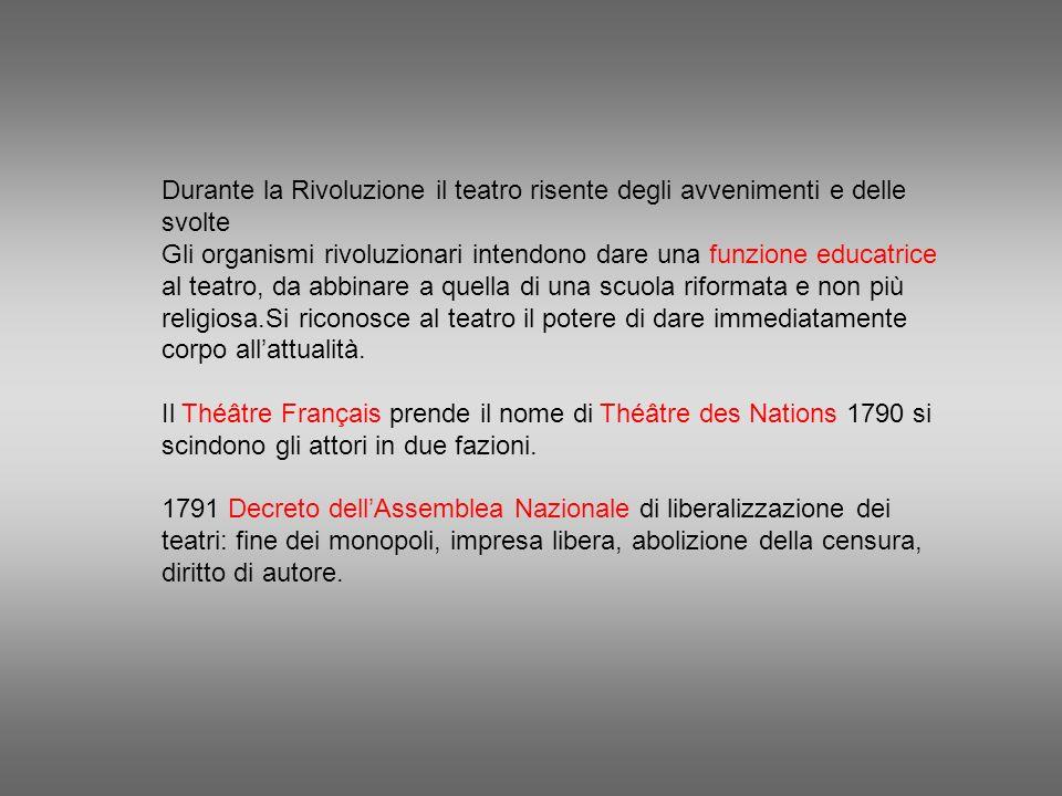Durante la Rivoluzione il teatro risente degli avvenimenti e delle svolte