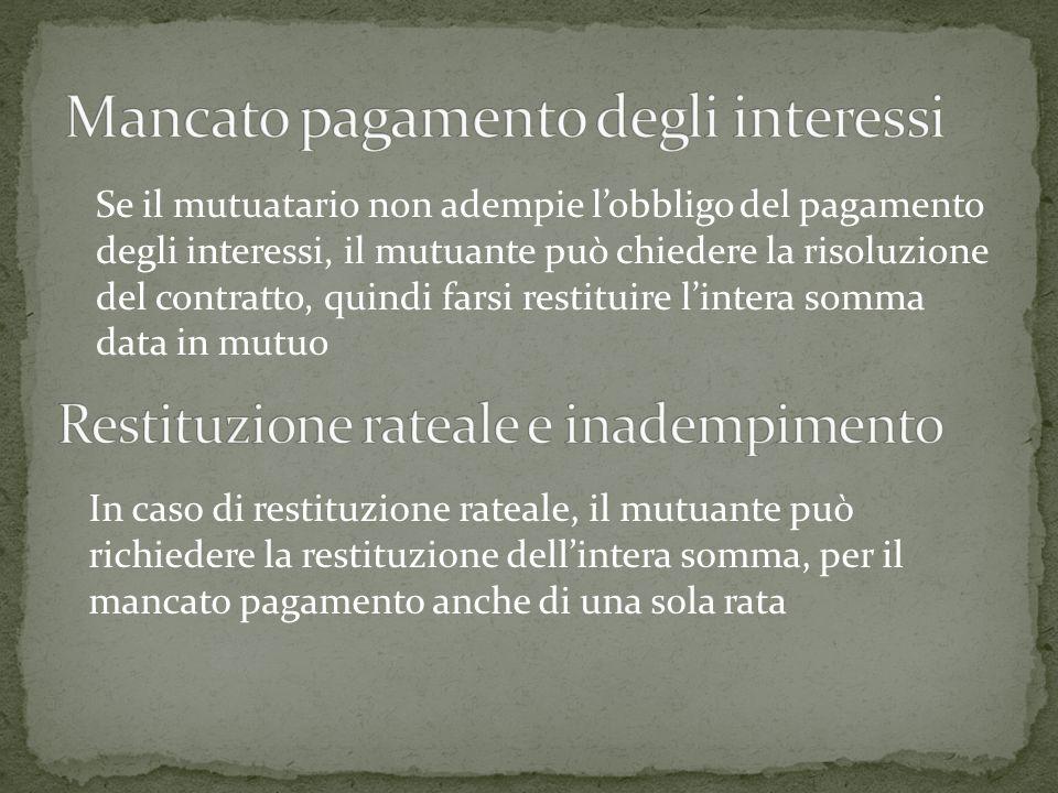 Mancato pagamento degli interessi
