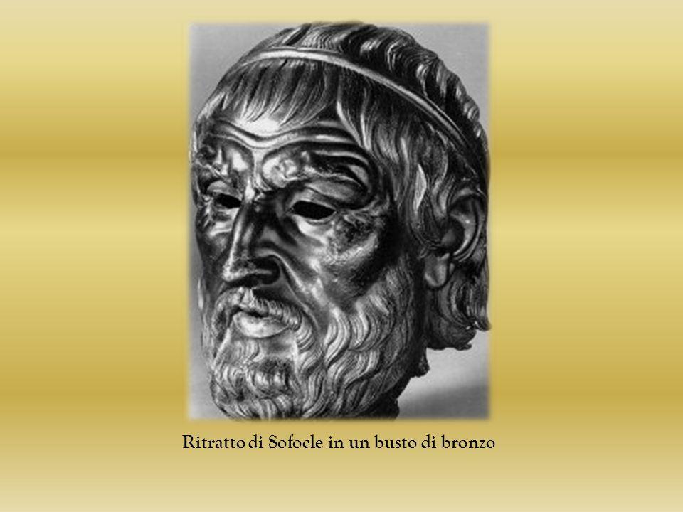 Ritratto di Sofocle in un busto di bronzo