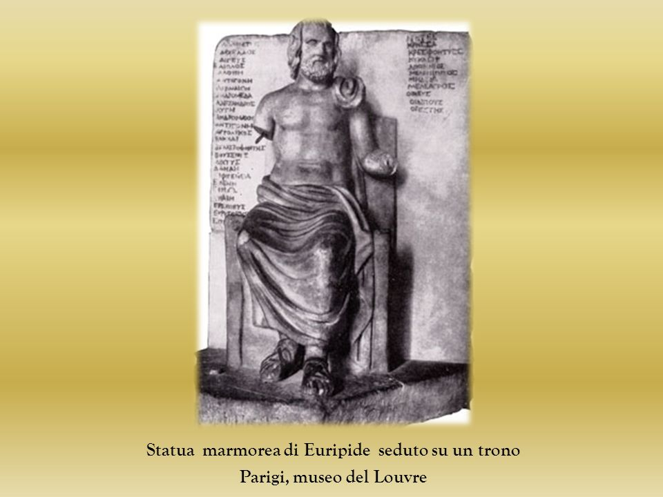 Statua marmorea di Euripide seduto su un trono