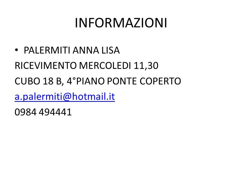 INFORMAZIONI PALERMITI ANNA LISA RICEVIMENTO MERCOLEDI 11,30