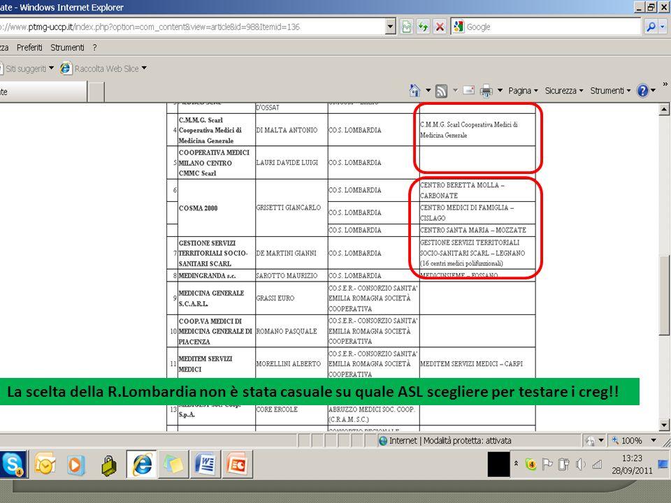 La scelta della R.Lombardia non è stata casuale su quale ASL scegliere per testare i creg!!