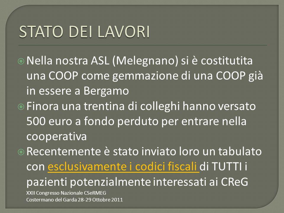 STATO DEI LAVORI Nella nostra ASL (Melegnano) si è costitutita una COOP come gemmazione di una COOP già in essere a Bergamo.