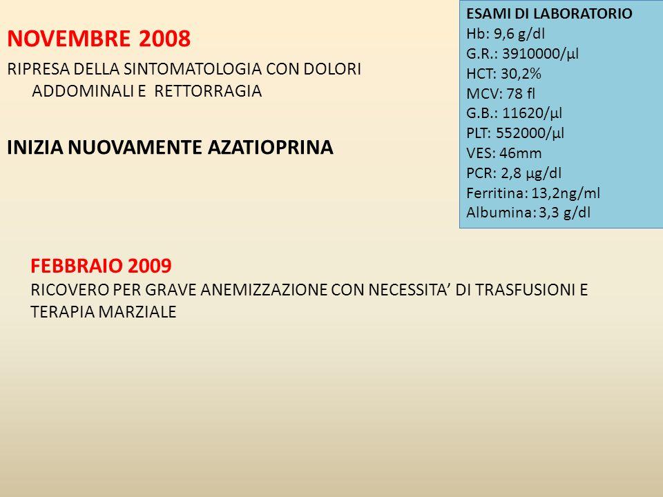 NOVEMBRE 2008 INIZIA NUOVAMENTE AZATIOPRINA FEBBRAIO 2009