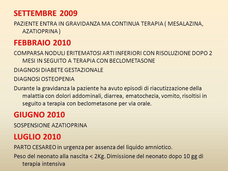 SETTEMBRE 2009 FEBBRAIO 2010 GIUGNO 2010 LUGLIO 2010