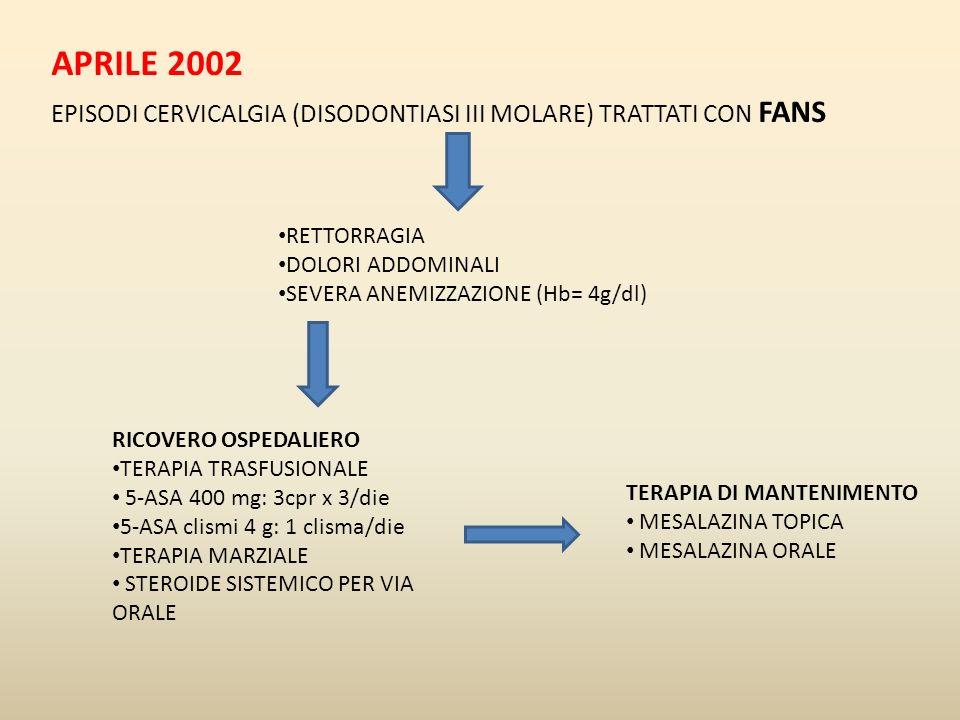 APRILE 2002 EPISODI CERVICALGIA (DISODONTIASI III MOLARE) TRATTATI CON FANS. RETTORRAGIA. DOLORI ADDOMINALI.