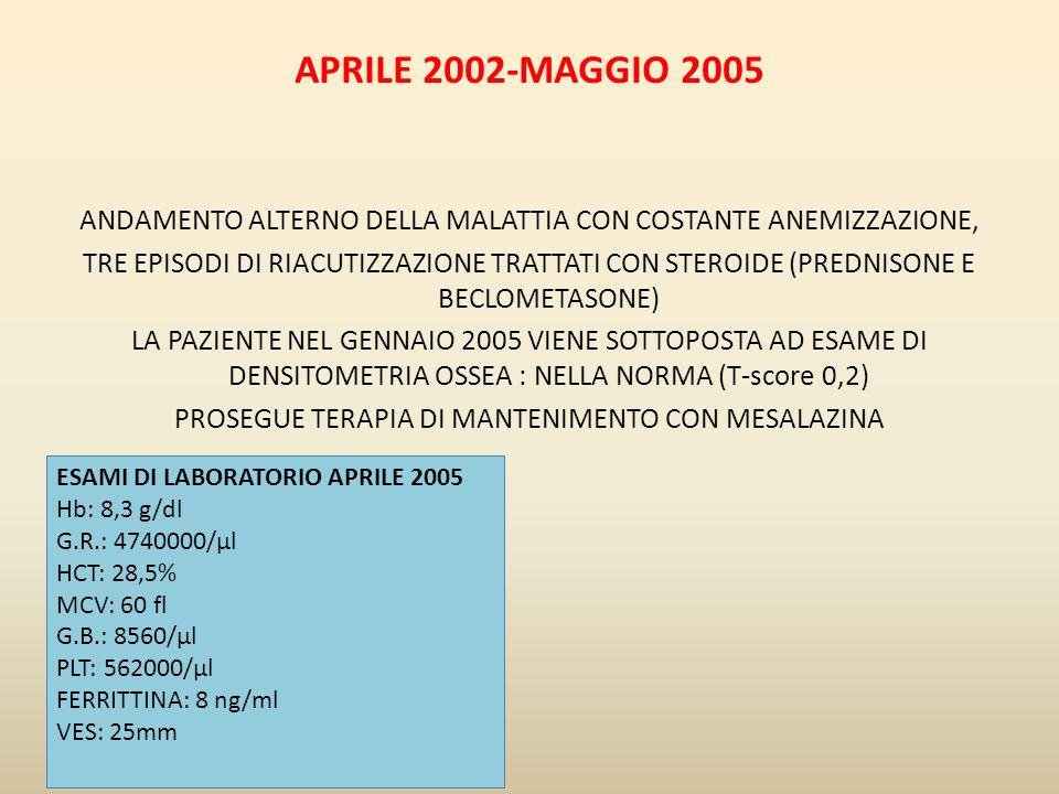 APRILE 2002-MAGGIO 2005 ANDAMENTO ALTERNO DELLA MALATTIA CON COSTANTE ANEMIZZAZIONE,