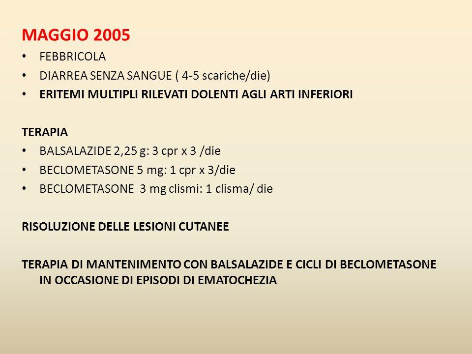 MAGGIO 2005 FEBBRICOLA DIARREA SENZA SANGUE ( 4-5 scariche/die)
